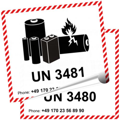 Transportaufkleber Un 3480 Un 3481 Lithium Ionen Akkus